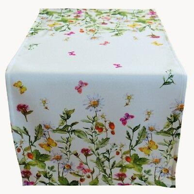 x 90 cm Tischdecke Deko Sommer Frühling weiß bunt Blumen  (Kurze Tischläufer)