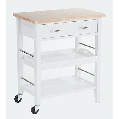 Trinity Wood Kitchen Cart w/ Drawers & Tray, White - TBFLWH-1404