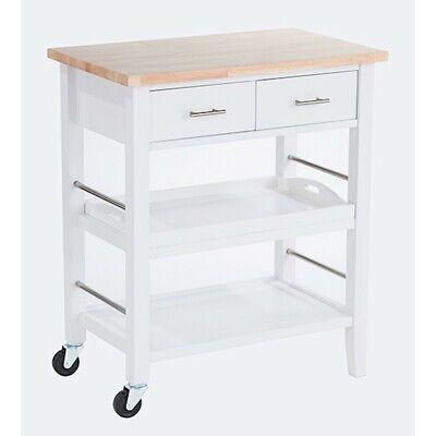 Trinity Wood Kitchen Cart w/ Drawers & Tray, White - TBFLWH-1404