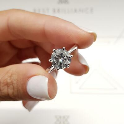 New 2.00Ct Brilliant Moissanite 6 Prong Solitaire Engagement Ring 18K White Gold 18k White Gold Moissanite Ring