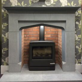 EX DISPLAY FIREPLACE suit stove or open fire or gas fire grey stone