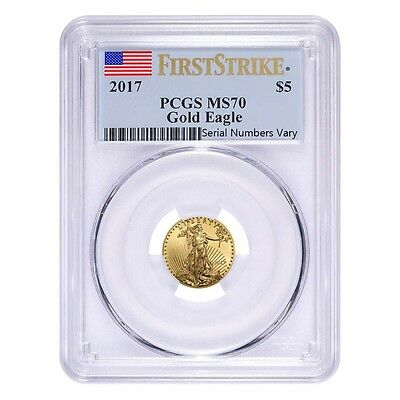 2017 1/10 oz Gold American Eagle PCGS MS 70 First Strike