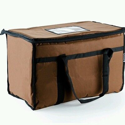 Brown Nylon Insulated Food Delivery Bag Pan Carrier 22x13x13