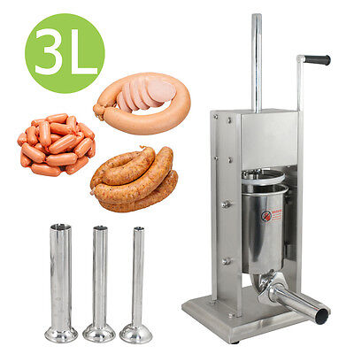 3l 7lb Vertical Sausage Stuffer Stainless Steel Meat Maker Filler 2 Speed