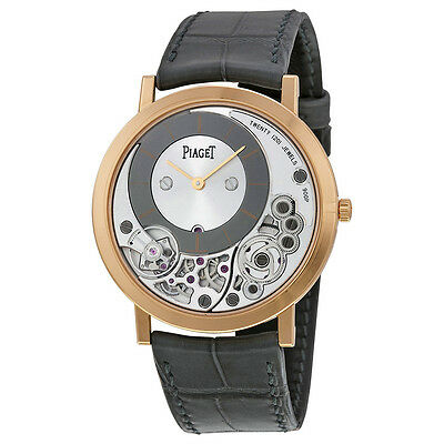 Piaget Altiplano Silver and Black Skeleton Dial 18kt Rose Gold Gray Leather