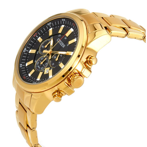 Citizen Black Dial Mens Gold Tone Chronograph Watch AN8083-51E