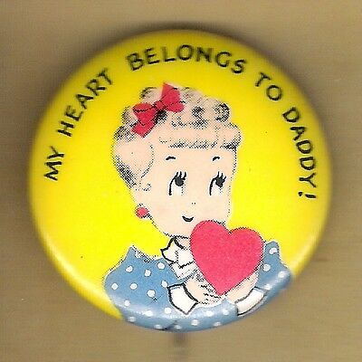 Vintage Pinback Button Advertising Pin 1940's Norcross Greeting Cards Daddy Girl