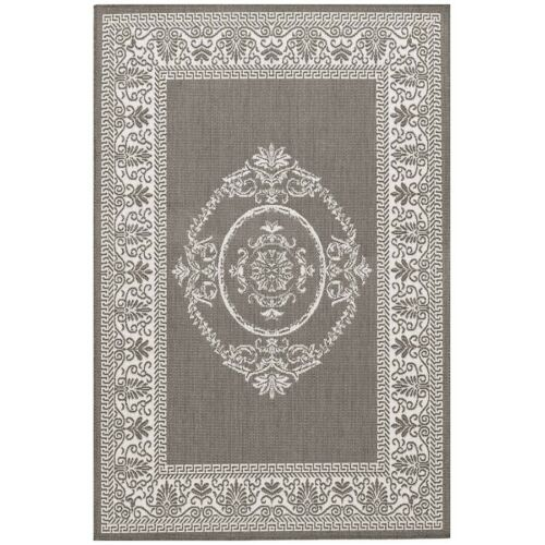 Couristan Recife Antq Medallion Grey & White Indoor/Outdoor