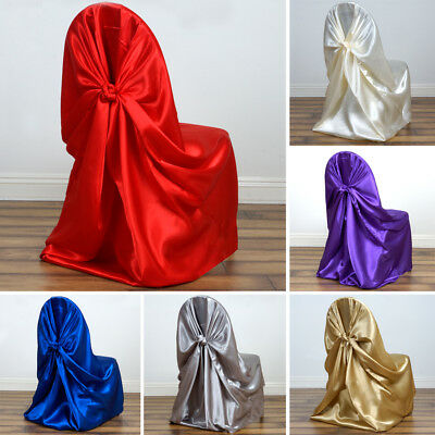 10 SATIN UNIVERSAL CHAIR COVERS Wedding Party Ceremony Discounted Supplies - Discount Wedding Decorations
