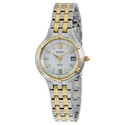 Seiko Women's Solar White Dial Two Tone Stainless Steel Watch SUT020