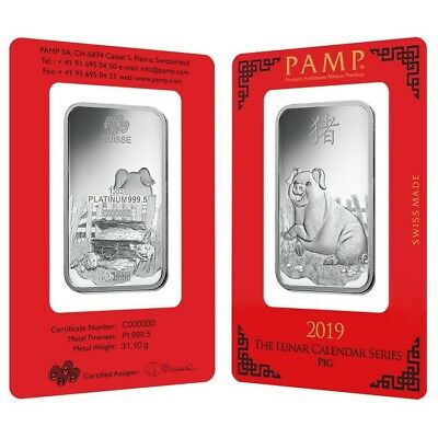 Sale Price - 1 oz PAMP Suisse Year of the Pig Platinum Bar (In Assay)
