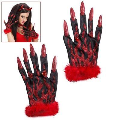 SCHUHE Halloween Fingernägel Damen Teufel Kostüm Party 8561 (Halloween-kostüm Handschuhe)