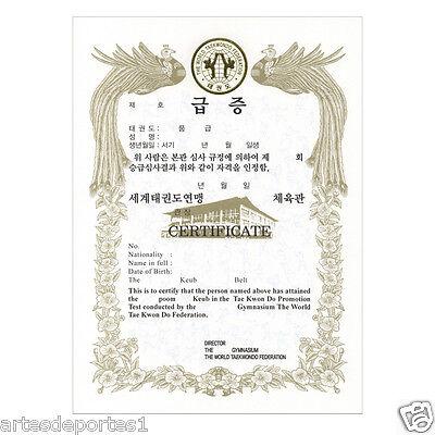 Kukkiwon Official Taekwondo Certificate Promotional Belt Test TKD WTF KTA 1 Pc