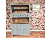 Rustic Welsh Dresser Farmhouse Style made from Chunky Hardwood - Free Delivery