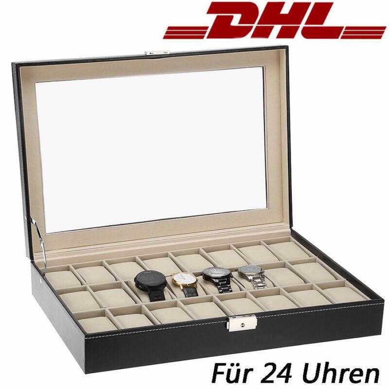 Leder Uhrenbox Uhrentruhe Uhrenkasten Uhrenkoffer Für 24 Uhren Uhrenschatulle DE