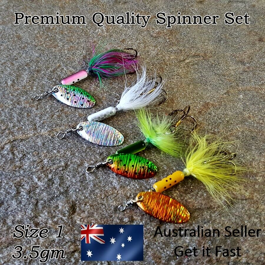 4 x fishing spinner lures trout lure redfin perch for Spinner fishing lures