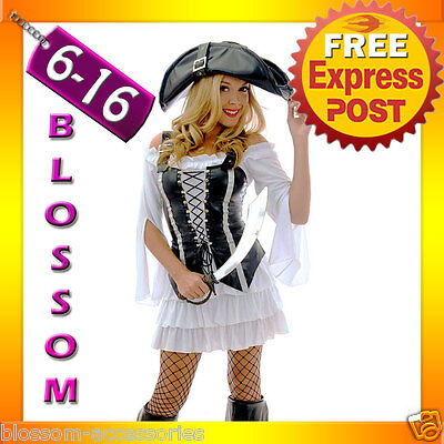 892 Ladies Swashbuckler Pirate Wench Fancy Halloween Costume Outfit Vest & Hat Pirate Wench Outfit