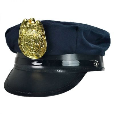 CHILD NAVY BLUE POLICE POLICEMAN COP OFFICER PATROL SECURITY COSTUME HAT CAP - Costume Police Hat