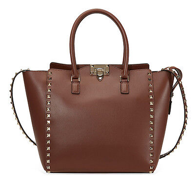 Valentino Rockstud Double Handle Bag- Brown