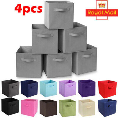 4/8 Pack Foldable Drawers Clothes Storage Organizer Boxes Closet Cube Basket Bin