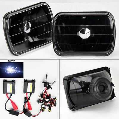 """7X6"""" 10K HID Xenon H4 Black Glass Headlight Conversion Pair RH LH G/K"""