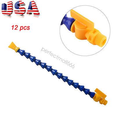 12x 14 Pt Flexible Water Oil Coolant Pipe Hose Round Flat Nozzle Fit Lathe Cnc