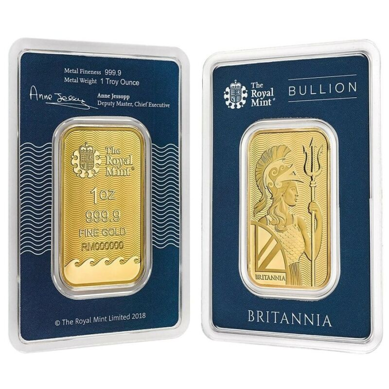 1 Oz Britannia Gold Bar .9999 Fine (in Assay)