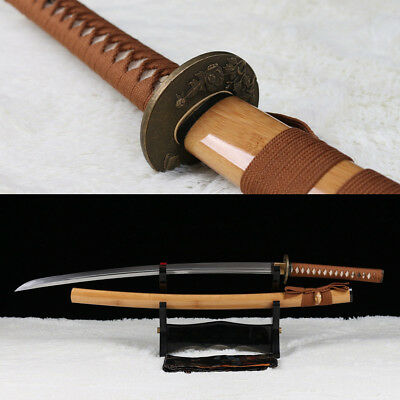(hand forged 1095 high carbon steel UNOKUBI-ZUKURI japanese samurai katana sword.)
