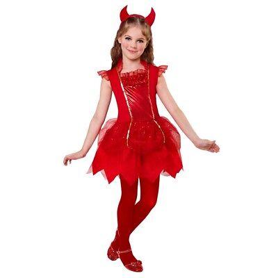 TEUFEL KOSTÜM & HÖRNER KINDER Halloween Karneval Party Satan Kleid Mädchen  0746 ()