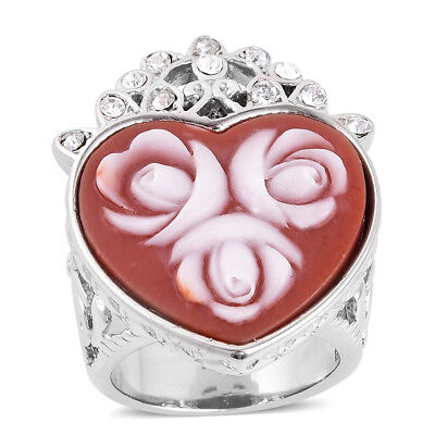 CAMEO FLOWERS FLORAL RESIN STAINLESS STEEL AUSTRIAN CRYSTAL RING SIZE 10 HEART Austrian Crystal Heart Ring