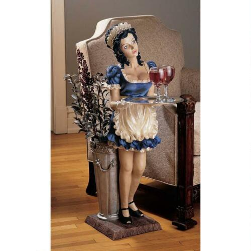 French Maid Mademoiselle Sculptural Pedestal Accent Table