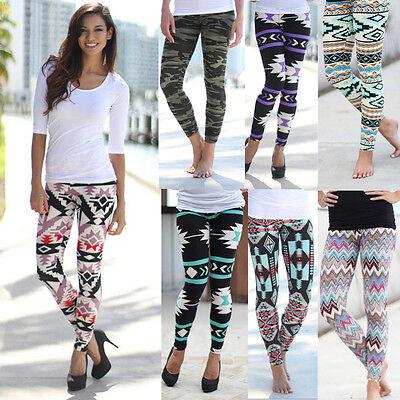 Women Geometry Print Leggings Stretchy Casual Vintage Slim Skinny Pencil Pants