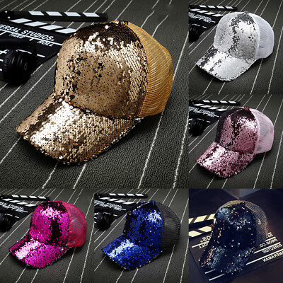 Fashion Women Ponytail Baseball Cap Sequins Shiny Messy Bun Snapback Hat Sun Cap (Sequin Baseball Cap)