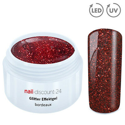 UV GLITTERGEL BORDEAUX 5ml Glitzergel Farbgel Effekt Color Gel Nailart Modellage