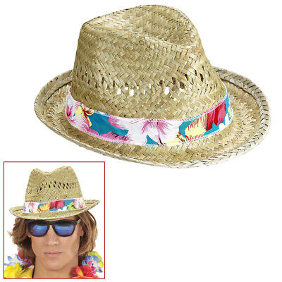 BEACH BOY FEDORA STROHHUT # Hawaii Südsee Karibik Stroh Hut Kostüm Party (Party Boy Kostüm)