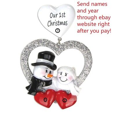 WEDDING COUPLES OUR FIRST 1ST CHRISTMAS PERSONALIZED CHRISTMAS TREE (Couples First Christmas Ornament)