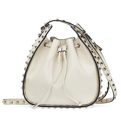 Valentino Rockstud Leather Bucket Bag- Light Ivory