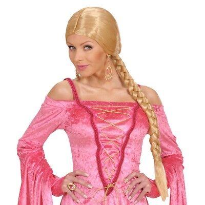 BLONDE ZOPF PERÜCKE Karneval Mittelalter Prinzessin Langhaarperücke Kostüm 0725