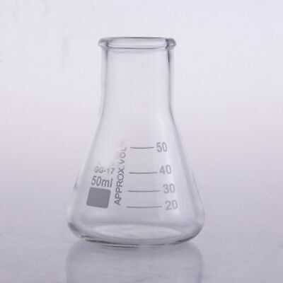 50ml Wide Neck Borosilicate Glass Conical Erlenmeyer Flask For Laboratory