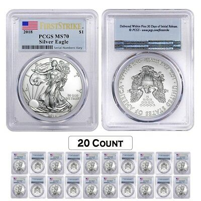 Lot of 20 - 2018 1 oz Silver American Eagle $1 Coin PCGS MS 70 FS (Flag Label)