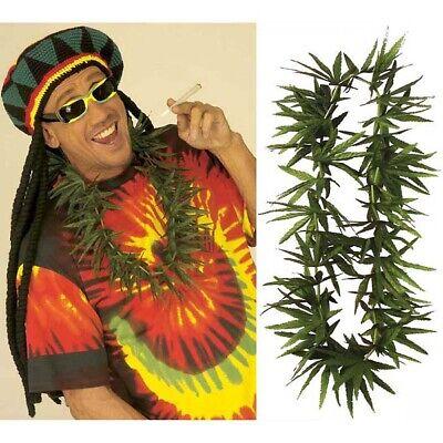 HANF KETTE # Jamaika Kiffer Cannabis Hanfkette Gras Leis Gag Kostüm Party 2765