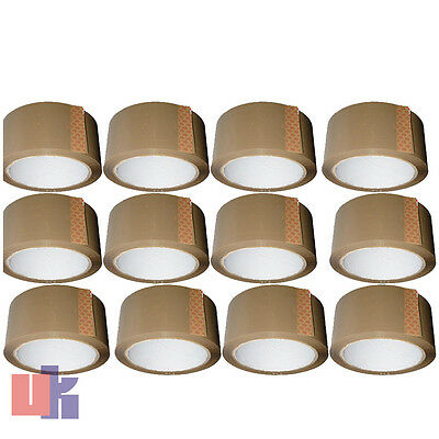 12 BROWN PARCEL PACKING STRONG TAPE 66m x48mm ROLLS PACKAGING SELLOTAPE SEALING