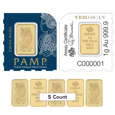 Lot of 5 - 1 gram Gold Bar - PAMP Suisse Lady Fortuna .9999 Fine (In Assay from