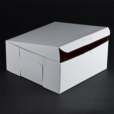 10 Count White 9x9x4 Bakery Or Cake Box