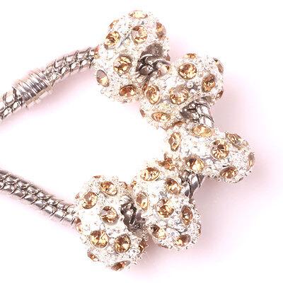 Fashion 5pcs Silver CZ nest big hole Beads Fit European Charm Bracelet DIY A#94
