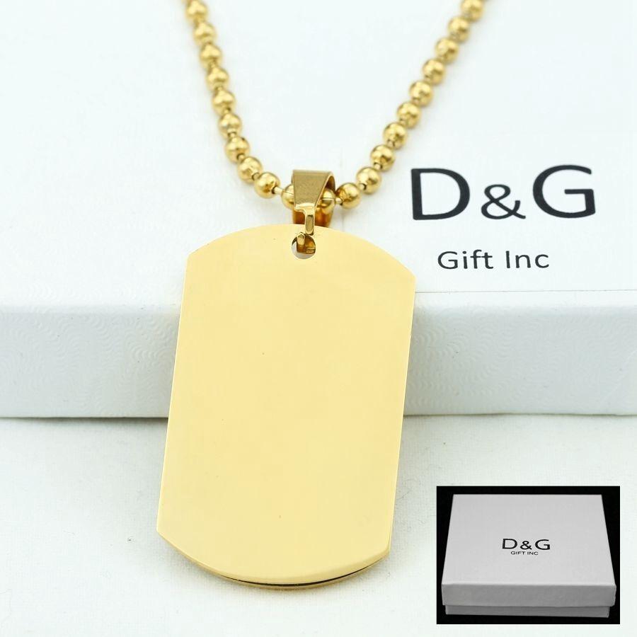 "DG Men's 30"" Stainless Steel,Gold DOG TAGS,Pendant,Ball Chai"