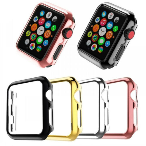 Slim Metal Plated PC Hard Protective Case Cover For Apple Watch 4/3/2/1 38-44mm