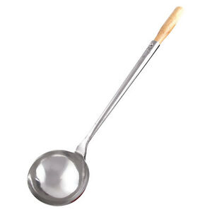 6 oz. Stainless Steel Wok Ladle with Wooden Handle 16 1/2