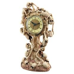 Time to Wake the Dead Skeletons Halloween Graveyard Desk Table Study Clock