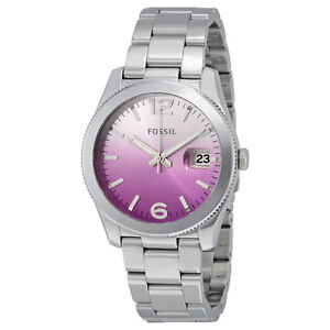 fossil perfect boyfriend purple gradient dial stainless steel ladies watch ebay
